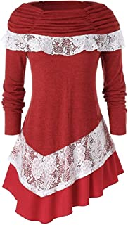 Yoyorule Tops Women Happy Christmas Fashion Plus Size Long Sleeve Solid Color Christmas Lace Splice Tops Sweater Blouse