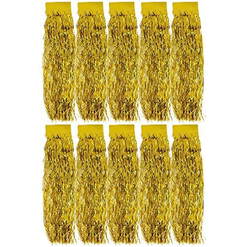 com-four® 10x Lametta - Goldfarbene Lametta Girlande für Weihnachten - Christbaumschmuck für den Tannenbaum - 47 cm