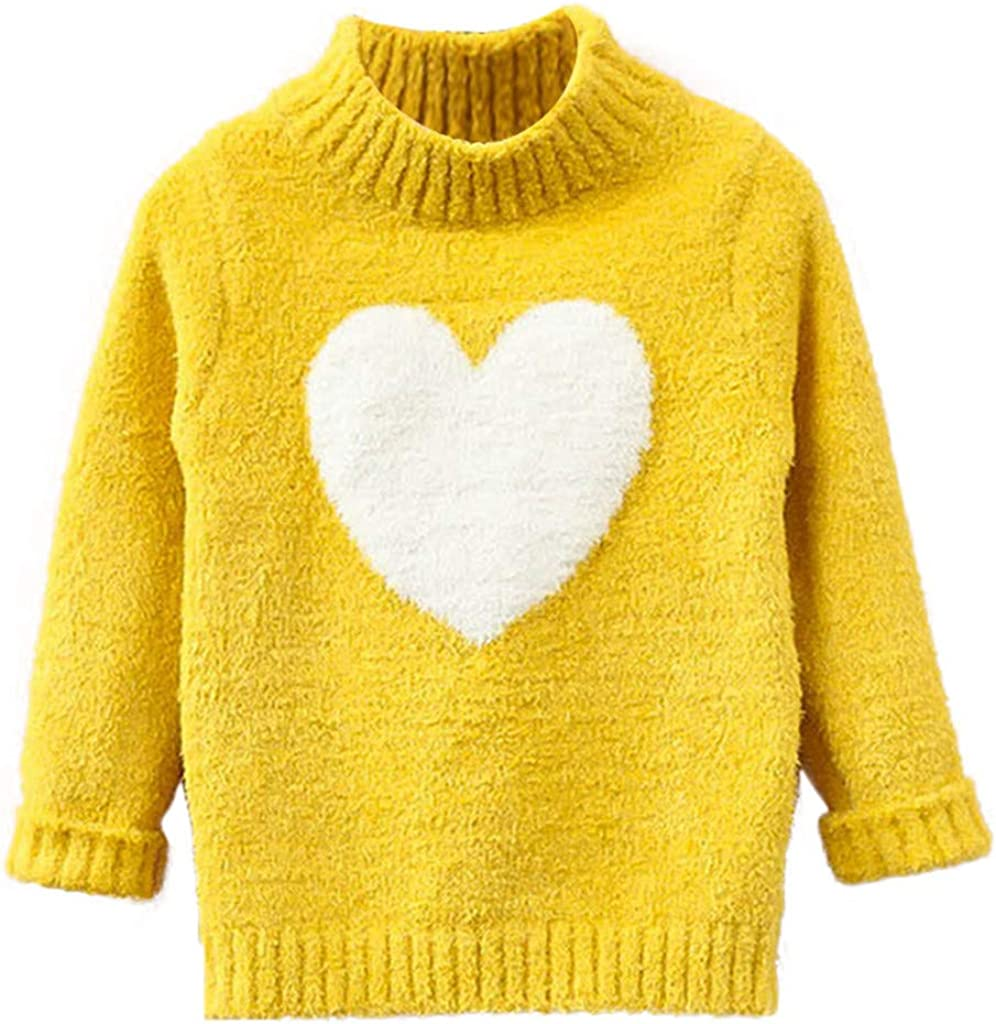 FeiliandaJJ Kinder Baby Pullover M/ädchen Langarm Heart-Shaped Muster Strickpullover M/ädchen Herbst Winter Warm Gestrickt Sweatshirt T-Shirt Sweater Pullis
