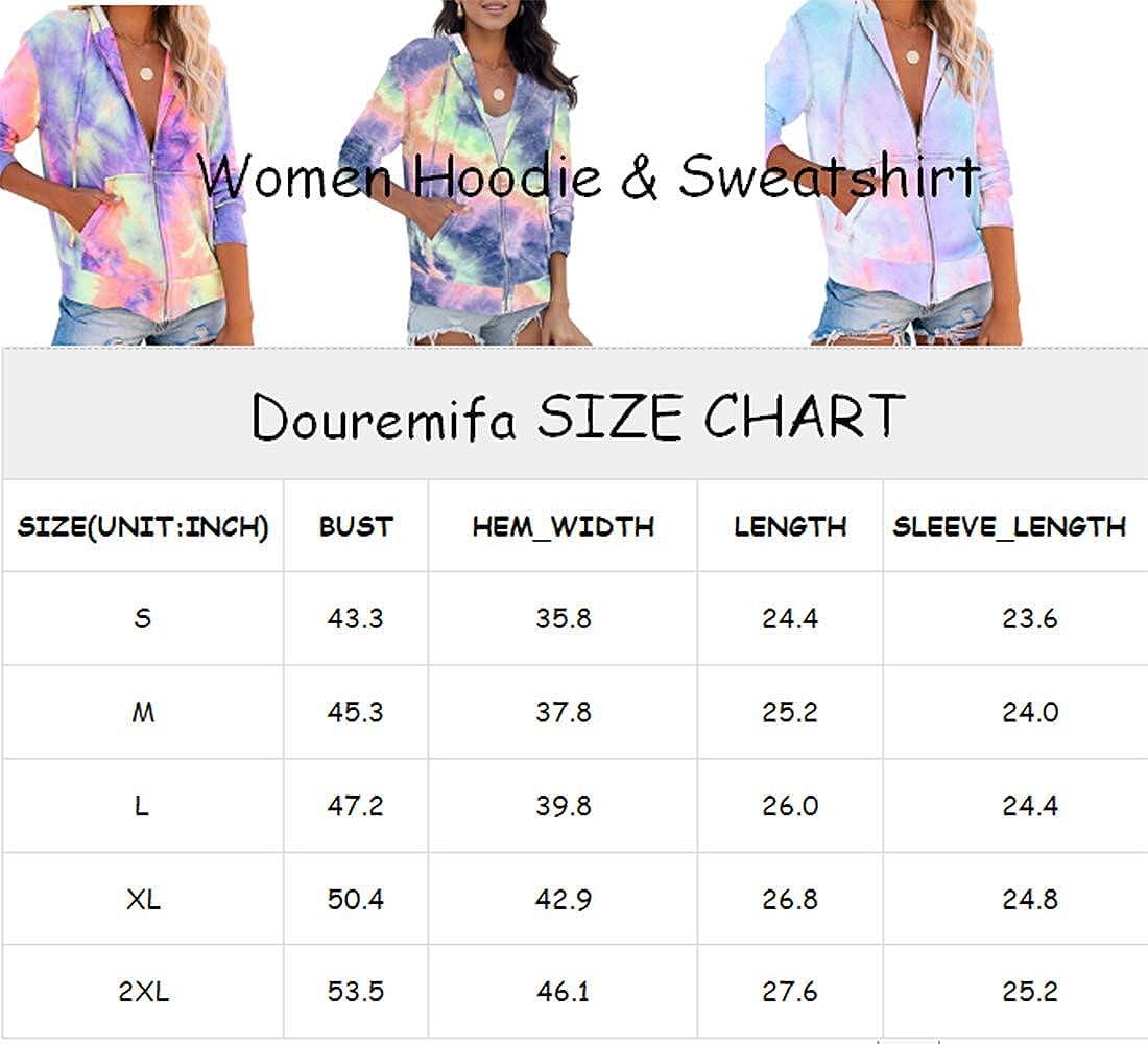Douremifa Women Long Sleeve Zip UP Drawstring Hoodie Jacket Coat with Pockets