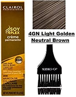 Clairol Soy4Plex Premium PERMANENT CREAM HAIR COLOR (w/Sleek Tint Brush) 100% Gray Coverage Creme Permanente Professional Grey Haircolor DYE (4GN Light Golden Neutral Brown.)