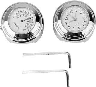IMIKEYA 2 peças de relógio de guidão para motocicleta, mostrador luminoso, suporte para guidão, relógio de montagem brilha...