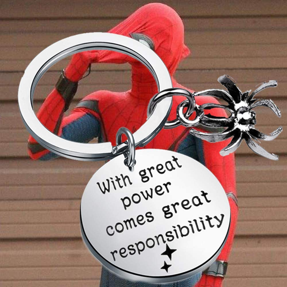 Superhero Gift with Great Power Comes Great Responsibility Keychain Marvel Fans Inspired Gifts