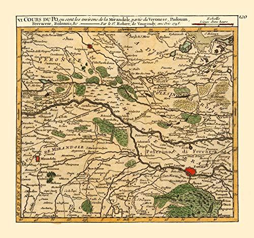 MAPS OF THE PAST Po River Verona Padua Provinces Italy - Robert 1748-23.00 x 24.59 - Matte Canvas