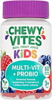 Chewy Vites Kids | Multi-Vit & Probio 60 Gummy Vitamins | 11 Essential Nutrients| 1 Billion Cultures |2 Months Supply | Re...