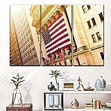 Impresiones En Lienzo 3 Piezas Cuadro Moderno En Lienzo Decoración para El Arte De La Pared del Hogar Banderas de construcción de NYSE 108×56 Cm HD Impreso Mural (Enmarcado)