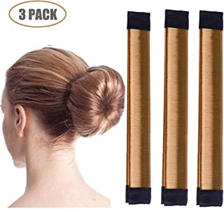 Aisonbo Magic Hair Bun Maker 3 PACK French Twist Donut Maker Easy Perfect Bun for Women Girls, DIY Hair Bun Making Hair Styling For Ballet, Wedding, Yoga, Dancing, Party (Brown)