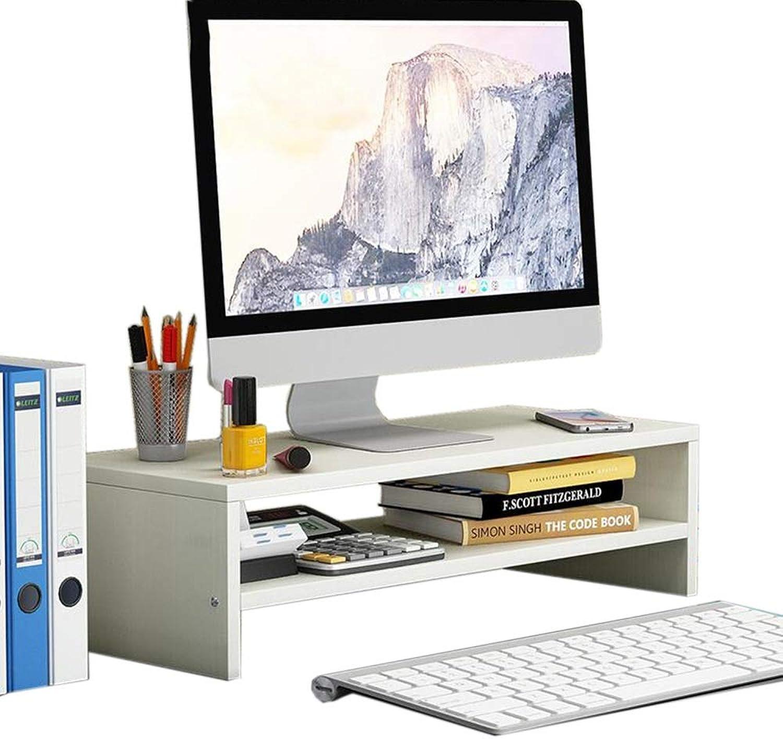 JCAFA Shelves Desktop Computer Monitor Heightening Screen Height 2 Layer Desktop Computer Stand Desktop Shelf, 3 colors (color   White, Size   18.66  7.87  5.19in)