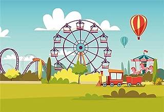 CSFOTO 7x5ft Background for Ferris Wheel Fun Fair Photography Backdrop Playground Cartoon Pleasure Ground Children Birthday Party Decor Celebration Child Kid Photo Studio Props Polyester Wallpaper