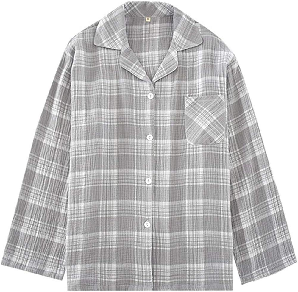 Mens Pajama Set Cotton Long Sleeve Sleepwear Button Down Tops and Pants Classic Plaid PJ Set