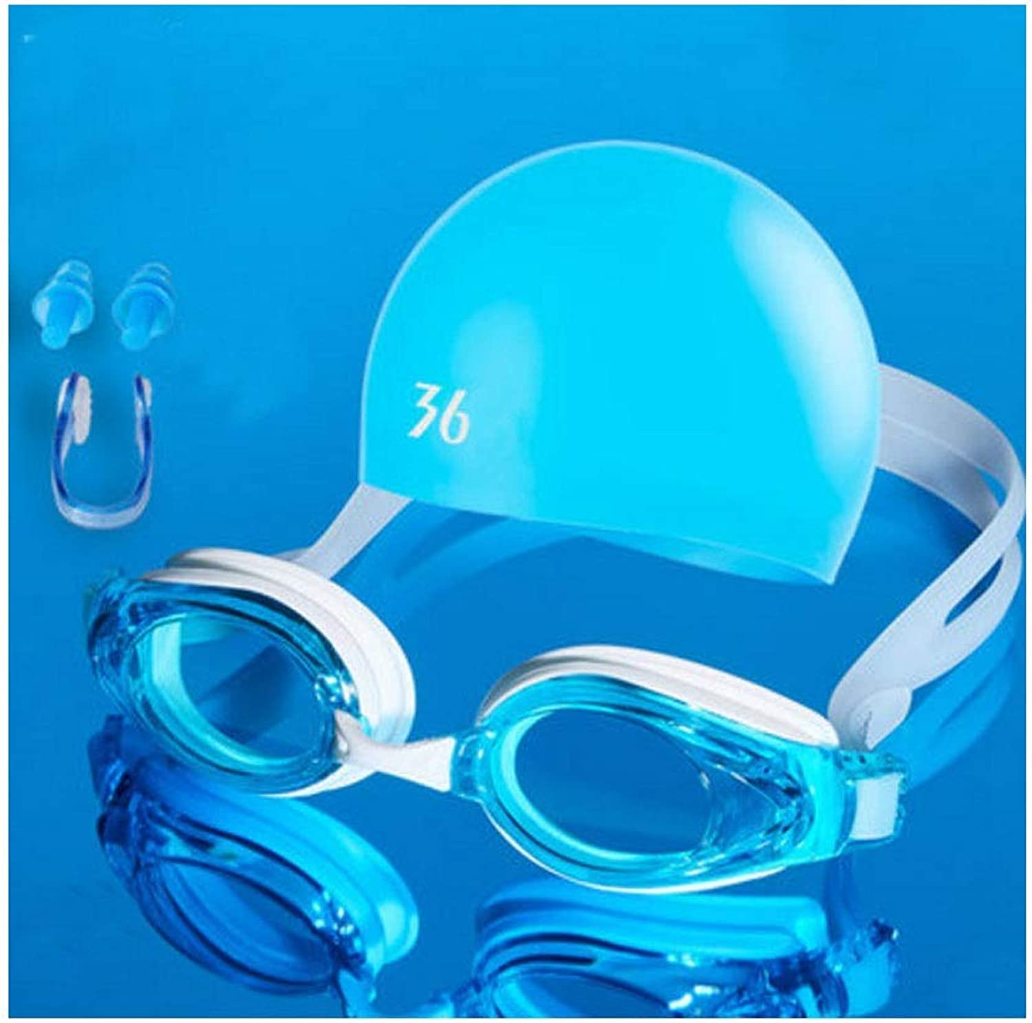 Chengjinxiang Goggles, Transparent Swimming Goggles, Waterproof and AntiFog Professional Swimming Equipment (Black, Gifts; Nose Clip + Earplugs + Swimming Cap) Good Looking