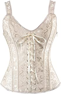 Zhitunemi Women Sexy Boned Lace up Corsets and Strap Bustiers Top Overbust Shaper