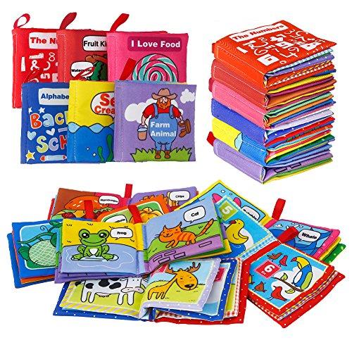 Acekid Primer Libro Suave, Libros de Tela para bebés no tóxicos Educación temprana Juguetes Actividad Tela de Arrugas Libros para bebés: Arrugado, Colorido, Paquete de 6