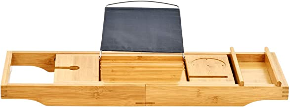 ToiletTree Products Bamboo Bathtub Caddy with Extending Sides and Adjustable Book Holder (Deluxe)