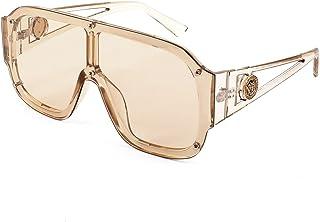 Retro Oversized Square Siamese Flat Top Sunglasses Women Men One Piece Large Frame Sunglasses K7089