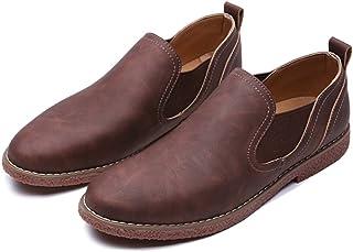 [Placck] メンズ ビジネスシューズ 本革 紳士靴 サイドゴア ローファー スリッポン ストレートチップ ウォーキングシューズ 防水 防滑
