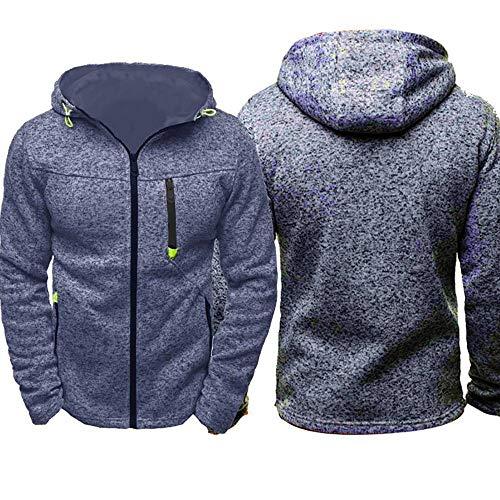 MUJOELE Sweat à capuche zippé pour homme - Tailles S, M, L, XL, XXL, XXXL, XXXXL - 100 % polyester - Bleu - L