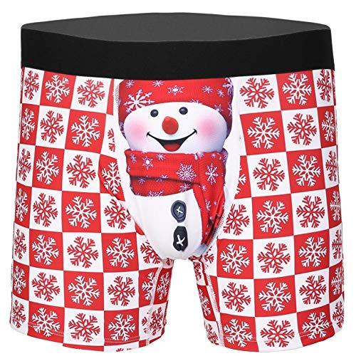 CHICTRY Noël Rouge Boxer Homme Nuisette Sexy Erotique Lingerie de Nuit Velours Paillettes Short de Sport Déguisement Noël Fête Soirée Caleçon Bas de Pyjama Cosplay M-XXL Type H M