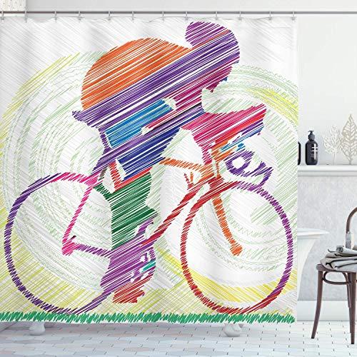 CheXe Cortina de Ducha Moderna, Imagen Dibujada a Mano del Bosquejo de un Hombre en Bicicleta en una Bicicleta con la Hierba del Sol, Juego de baño, 72 'de Largo, Naranja púrpura