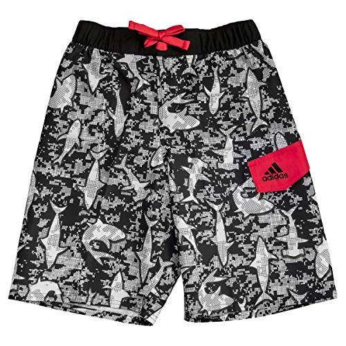 adidas Boys Swim Trunks Boardshorts (Medium, Black White Sharks)