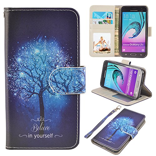 UrSpeedtekLive J3 (2016) Case, Galaxy Express Prime/Amp Prime Case, Premium PU Leather Wallet Case Cover w/Strap Card Slots Flip Magnetic Closer & Kickstand for Samsung Galaxy J3 (2016), Tree