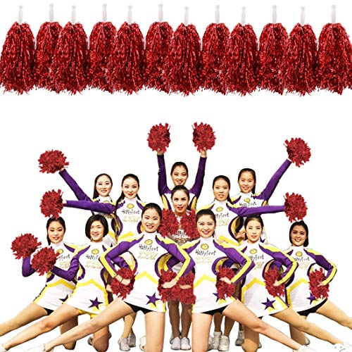 MOAMUN 24 STÜCKE Cheeleading Pom Poms für Cherring Squad, Kunststoff Metallic Cheerleader Folie Pompons mit Griff für Sport Team Spirit Cherring Party Dance Dekoration (Rot)