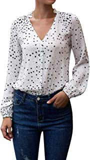 Long Sleeve Tee Blouse Women, Amiley Women Stars Print Button Down V Neck Ruched Long Sleeve T Shirts Tunic Casual Tops Tees