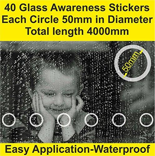 Lot de 32 en verre de sécurité Stickers Autocollant opaque avant Shop Patio portes Application facile Professional Smart Look (50 mm de diamètre x 3200 mm Longueur) Sticker une pièce