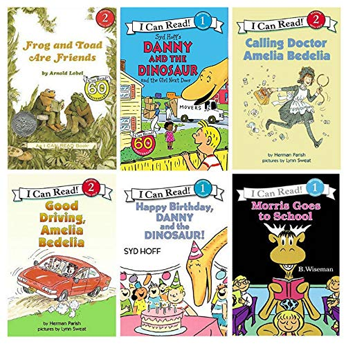 I Can Read Level 1 & 2 Beginning Readers Six Book Set : Happy Birthday Danny Dinosaur, Good Driving Amelia Bedelia, Frog and Toad Are Friends, Morris Goes to School....