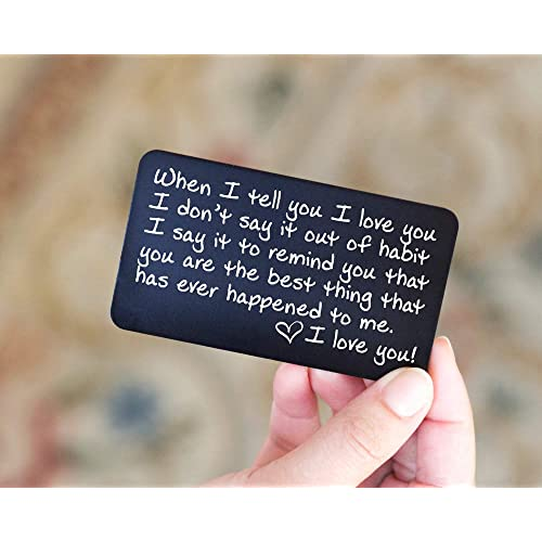 33874aa7c5 Engraved Wallet Insert Anniversary Gifts for Men; Boyfriend Gift Idea for  Him; Handmade Mini