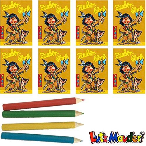 Lutz Mauder / Dekospass 8 x Indianer Zauberblock in DIN A8 inkl. Buntstiften im Set, Zauberblöckchen, Mitgebsel, Jungenparty, Geburtstagsfeier