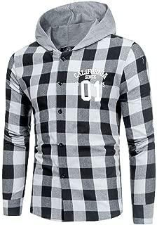 Yvelands Camisas de Pliad Camisa de Moda Moda Masculina Camisa Camisa de Manga Larga a Cuadros Multicolor Casual Top Blusa Ropa Vestido de Verano de otoño: Amazon.es: Ropa y accesorios
