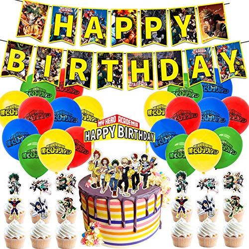 My Hero Academia Accessoires de fête d'anniversaire comprenant 1 bannière d'anniversaire, 1 décoration de gâteau, 24 décorations pour cupcakes, 20 ballons, 1 colle, coffret cadeau MHA pour décoration