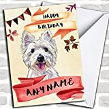 Watercolour Rustic Westie West Highland Terrier Dog Personalized Birthday Greetings Card