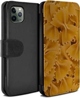 eSwish PU Leather Wallet Flip Case/Cover for Apple iPhone 11 Pro/Farfalle Pasta Design/Food Collection