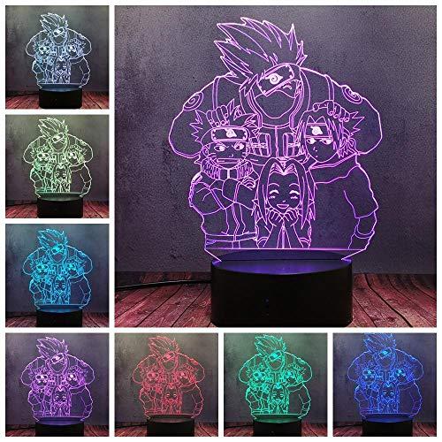 Luz nocturna 3D de dibujos animados Kakashi VS Naruto Sasuke Sakura 3D ilusión LED USB RGB Luz de Noche de los Niños Decoración de la Habitación de las Lámparas ZGLQ
