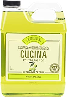 Fruits and Passion Cucina Purifying Dish Detergent, One Liter Refill, Coriander and Olive Tree Scented