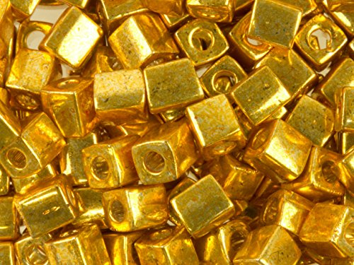 20Gr Metallic Gold Miyuki 4mm Square Cube Glass Seed Beads