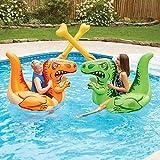 PlayDay Dual Dinosaur Ride-ons with Battle Bones floaties Pool Game Heavy Duty Handles with Repair Patch