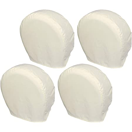 Explore Land Tire Covers 4 Pack - Tough Tire Wheel Protector for Truck, SUV, Trailer, Camper, RV - Universal Fits Tire Diameters 26-28.75 inches, White