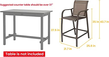 Crestlive Products Counter Height Bar Stools All Weather Patio Furniture with Heavy Duty Aluminum Frame in Antique Brown Fini