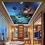 Wandbild Deckengemälde Moderne 3D Universum Planet Fototapete Wohnzimmer Thema Hotel Deckendekor Wandverkleidung 3D,Größe:200X140CM