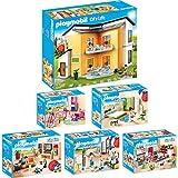 Playmobil City Life Set en 6 parties 9266 9267 9268 9269 9270 9271 Villa moderna + Soggiorno con mobile TV + Bagno accessoriato + Grande Cucina Attrezzata + Cameretta + Camera da letto