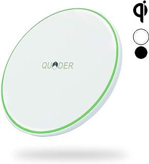 QUDER® Wireless Charger 10 Watt für Samsung   kleines QI Ladegerät fürs iPhone   induktive Ladestation fürs Büro in edlem weiß   kabellos Laden