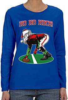 Women's Ho Ho Ho Hike Football Santa Ugly Christmas Long Sleeve T-Shirt