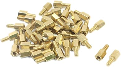 Yohii 50Pcs M3 x 6mm x 12mm Gold Tone Male Female Thread Brass Pillar PCB Hexagon Standoff Spacer