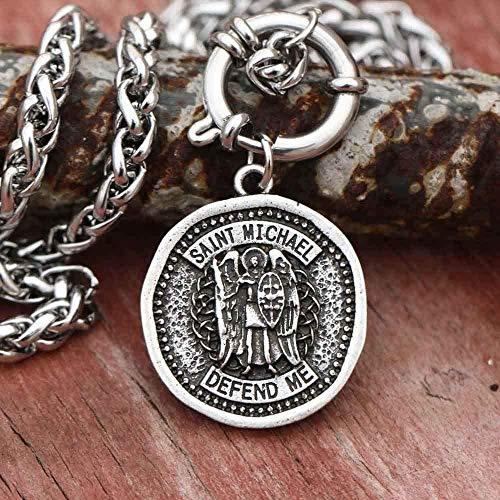 WYDSFWL Collar Collar católico Arcángel San Miguel protégeme Mans Medalla Collar de joyería de patrón