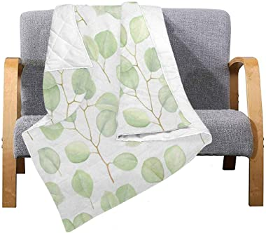 """INTERESTPRINT Greenery with Branches Silver Dollar Eucalyptus Soft Premium Fabric Quilt Bedding 50""""x 60"""""""