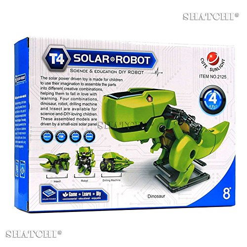 SHATCHI Make Your Own 4-in-1 Solar Robot DIY Assemble Educational Dinosaur 3D Moving Model Building Kit for Birthday and Christmas Gift, Green