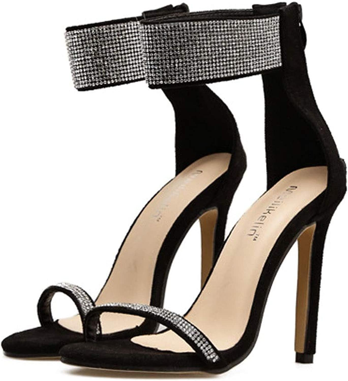 Sugoishop Women's shoes High Heel Open Toe Fish Mouth Rhinestone Stiletto Super High Heel Sandals